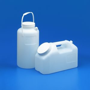 Urine collection bottles HDPE graduated - round with cap + handle