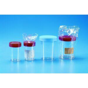 Urine/specimen container aseptic indiv. packed with PE screw cap + label