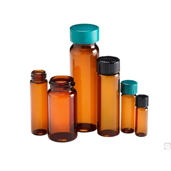 Qorpak 15 x 45mm 1 dram (4ml) Amber Borosilicate Vial with 13-425 Green Thermoset F217 & PTFE Lined Cap attached