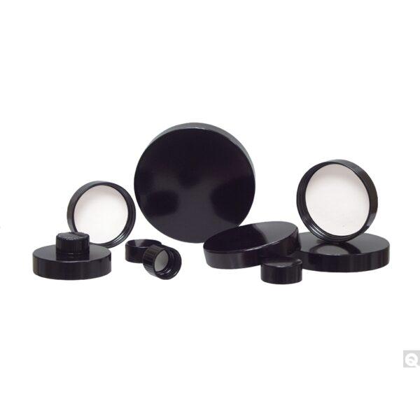 Qorpak 15-425 Black Ribbed Phenolic Cap with Rubber Liner