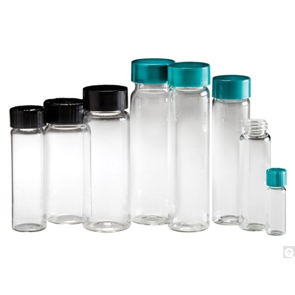 Qorpak 27.25 x 57.5mm 5 dram (20ml) Clear Borosilicate Vial with 24-400 Green Thermoset F217 & PTFE Lined Cap attached